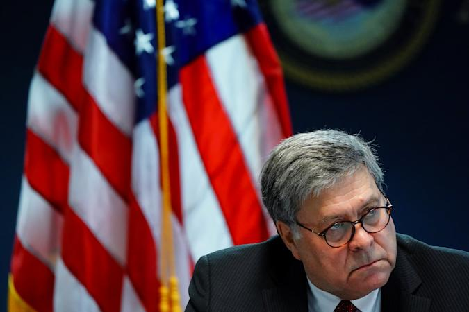 U.S. Attorney General William Barr participates in a roundtable discussion about human trafficking at the U.S. Attorney's Office in Atlanta, Georgia, U.S., September 21, 2020. REUTERS/Elijah Nouvelage