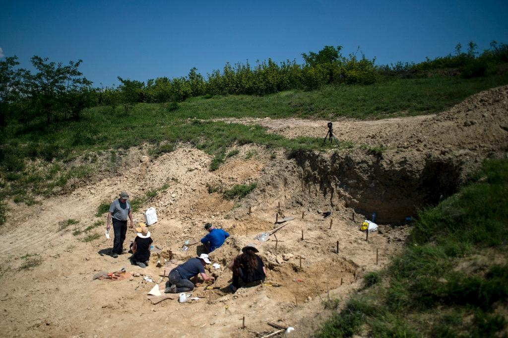 Palaeontologists work near the site in Bulgaria where a fossilised tooth with three roots was found, which some researchers say may be a sign of the oldest known human ancestor (AFP Photo/NIKOLAY DOYCHINOV)