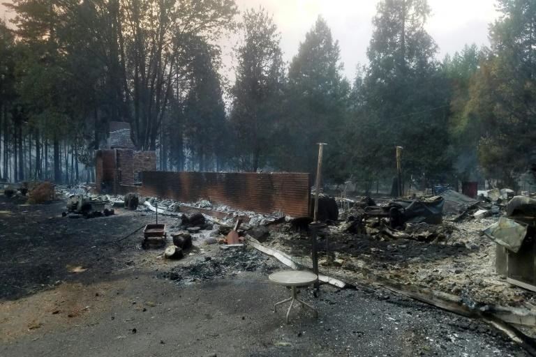 A burned out house is seen after the passing of the Holiday Farm fire in McKenzie Bridge, Oregon