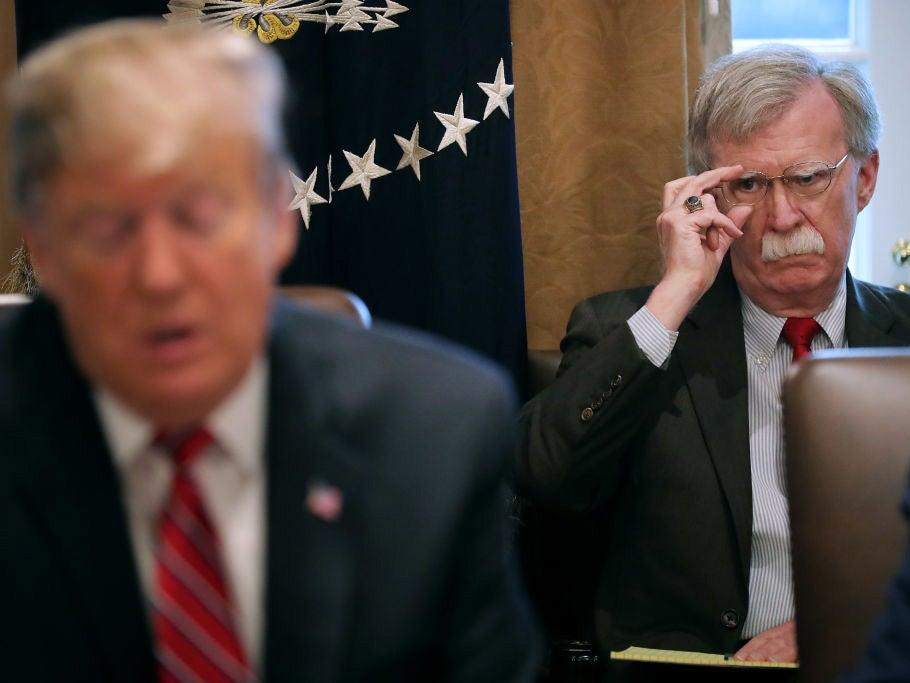 """Donald Trump likes to goad his national security adviser John Bolton about his lust for military action, according to officials who have spoken out on their relationship.As Iran claims to have captured spies working for the US and accuses Mr Bolton of trying to start """"war of the century"""", new details have emerged of the president's fondness for baiting his adviser in the company of top officials – including foreign dignitaries.During a White House Situation Room meeting last year, Mr Trump reportedly said to his hawkish national security chief: """"Ok, John, let me guess, you want to nuke them all?""""According to the report by the Axios website, Mr Trump turned to Mr Bolton in an Oval Office meeting with Irish prime minister Leo Varadkar and said: """"John, is Ireland one of those countries you want to invade?""""Quoting unnamed senior administration officials, the account claimed the president recently joked that """"John has never seen a war he doesn't like"""", repeating sentiments made in public. """"If it was up to him he'd take on the whole world at one time, okay?"""" Mr Trump recently told NBC's Meet the Press.Yet the president is said to get """"quite touchy"""" if critics of Mr Bolton complain the national security adviser could pull the US into unnecessary conflict against Mr Trump's will. """"He doesn't want anyone to believe he's anybody's pawn.""""Sources said Mr Trump likes to keep Mr Bolton on his team because his aggressive reputation gives the president the opportunity to play """"good cop"""" to his adviser's """"bad cop"""" routine.""""He thinks that Bolton's bellicosity and eagerness to kill people is a bargaining chip when he's sitting down with foreign leaders,"""" said one official. """"Bolton can be the bad cop and Trump can be the good cop. Trump believes this to his core.""""On Sunday Iranian foreign minister Javad Zarif tweeted about the White House hawk as Tehran's dispute with both the UK and US threatened to escalate over the seizure of a British oil tanker.""""Make no mistake. Having failed to l"""