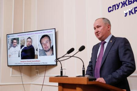Head of the Security Service of Ukraine Hrytsak attends a news conference in Kiev