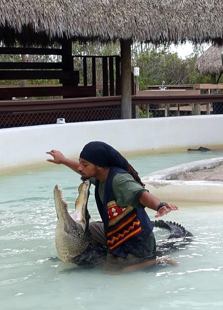 Pharoah Gayles, a wrestler of Puerto Rican, African-American and Seminole descent entertains worldwide tourists from a sand pit and pond beneath a chickee hut along the Tamiami Trail (AFP Photo/Kerry Sheridan)