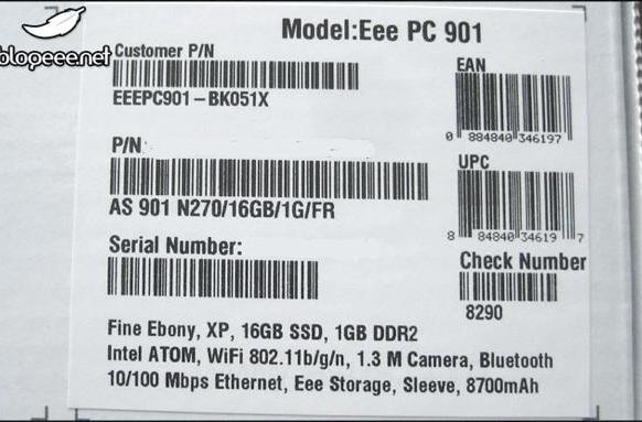 Eee PC 901GO with faster SSD and a bigger battery surfaces in France