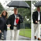 Donald Trump leaves Melania in the rain without umbrella