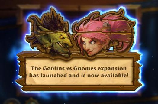 Hearthstone's Goblins vs. Gnomes expansion available now