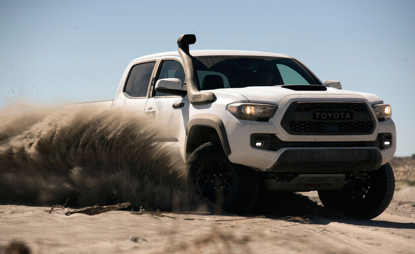 """<p>What's more bad-ass than an intake snorkel on a beefy off-roader? It's not purely for style, either-real off-roaders understand that keeping a steady supply of clean, dry air is crucial for an engine's health. It only takes a few gulps of water to hydrolock an engine, and inhaling sand and dirt expedites the wear of its internal components. So whether you just want to look the part or plan on traversing some seriously rugged terrain, Toyota has you covered with<a href=""""https://www.caranddriver.com/news/a16751417/2019-toyota-tacoma-trd-pro-continues-to-rule-dirt-professionally/"""" rel=""""nofollow noopener"""" target=""""_blank"""" data-ylk=""""slk:its new-for-2019 TRD intake snorkel option"""" class=""""link rapid-noclick-resp""""> its new-for-2019 TRD intake snorkel option</a>.</p>"""