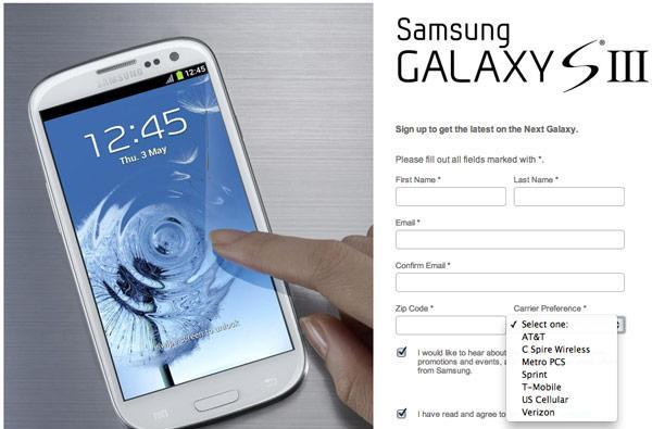 Samsung Galaxy S III US sign-up page goes live