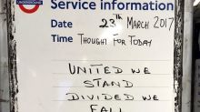 London Tube network posts messages of defiance in wake of Westminster terror attack