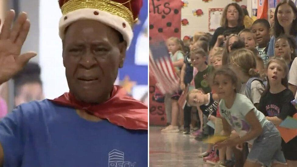 'He's the king': Children's heart-warming goodbye to school janitor