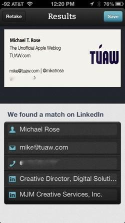 Five apps for business card scanning