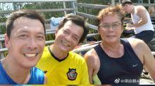 Recently widowed Felix Wong seen playing football with friends