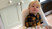 Toddler left alone for ten minutes eats 18 yoghurt pots