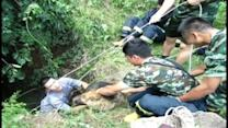 Firemen rescue dog from well in China