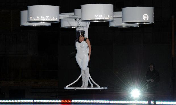 Lady Gaga hits the stage in a multicopter flying dress (video)