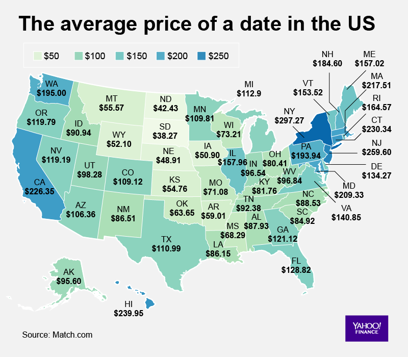 Map: A look how expensive dating is across U.S. states