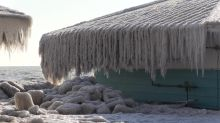 Homes and trees close to Lake Erie coated in ice after freezing winds