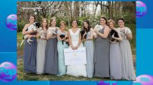 North Carolina bridesmaids trade bouquets for rescue puppies in wedding photos