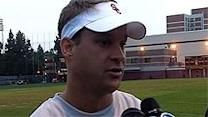 Kiffin runs early morning, high energy practi