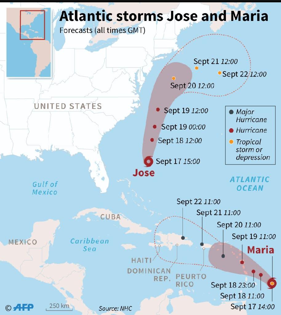 Hurricane Jose and Tropical Storm Maria