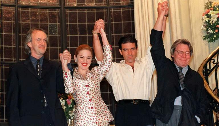 "Parker's last major success came with the 1996 musical drama ""Evita"" starring Madonna, Antonio Banderas and Jonathan Pryce (AFP Photo/DANIEL GARCIA)"