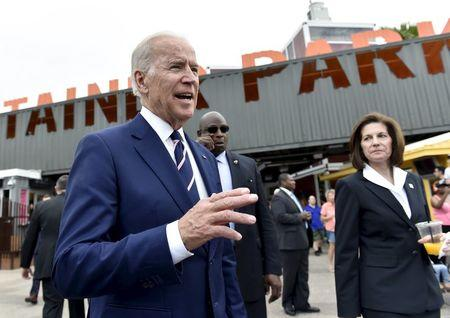 U.S. Vice President Joe Biden and Catherine Cortez Masto greet people after he spoke at an event to bring awareness to sexual assault on college campuses in Las Vegas