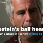 Jeffrey Epstein accusers in court to demand he stay jailed