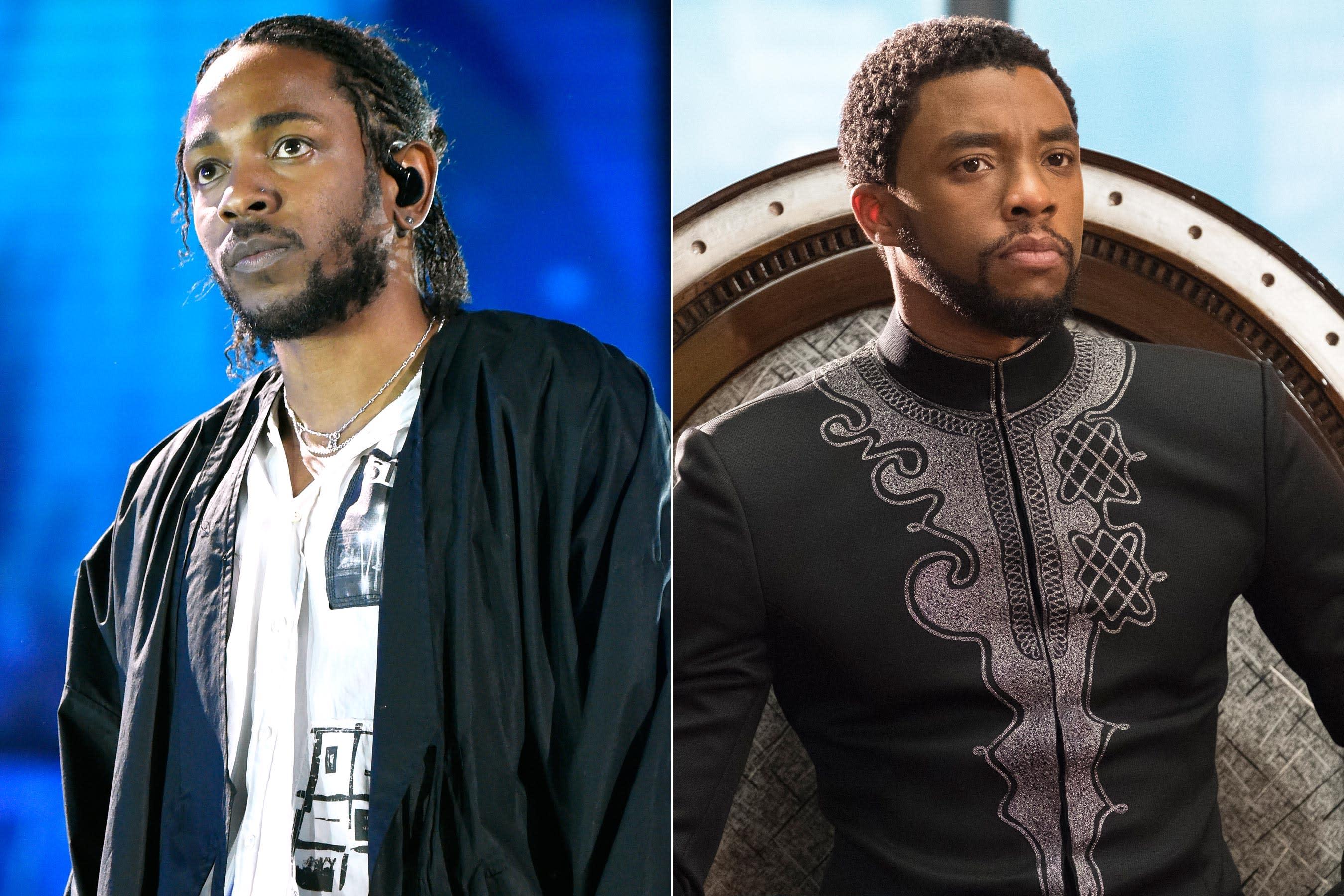 Kendrick Lamar Left And Chadwick Boseman Photos Entertainment Weekly