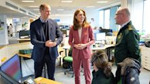 'Don't shake hands!': Wills and Kate's near miss visiting corona call centre