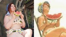 Curvy Woman Recreates Classic Pinup Cartoons to Face Her Insecurities
