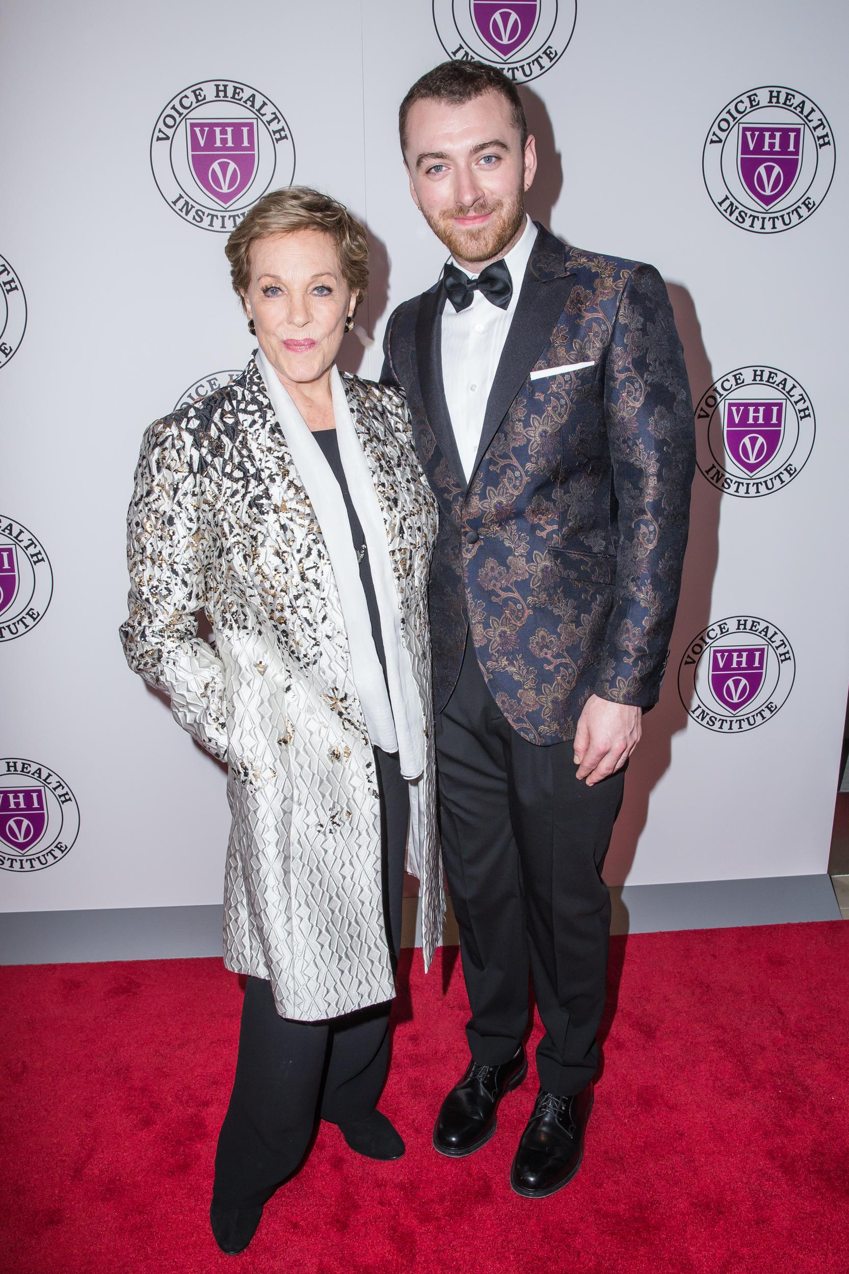 Singer Sam Smith and event honoree Julie Andrews attend the 'Raise Your Voice' concert honoring Julie Andrews at Alice Tully Hall, Lincoln Center on March 5, 2018 in New York, NY. (Photo by Joe Russo / Sipa USA)