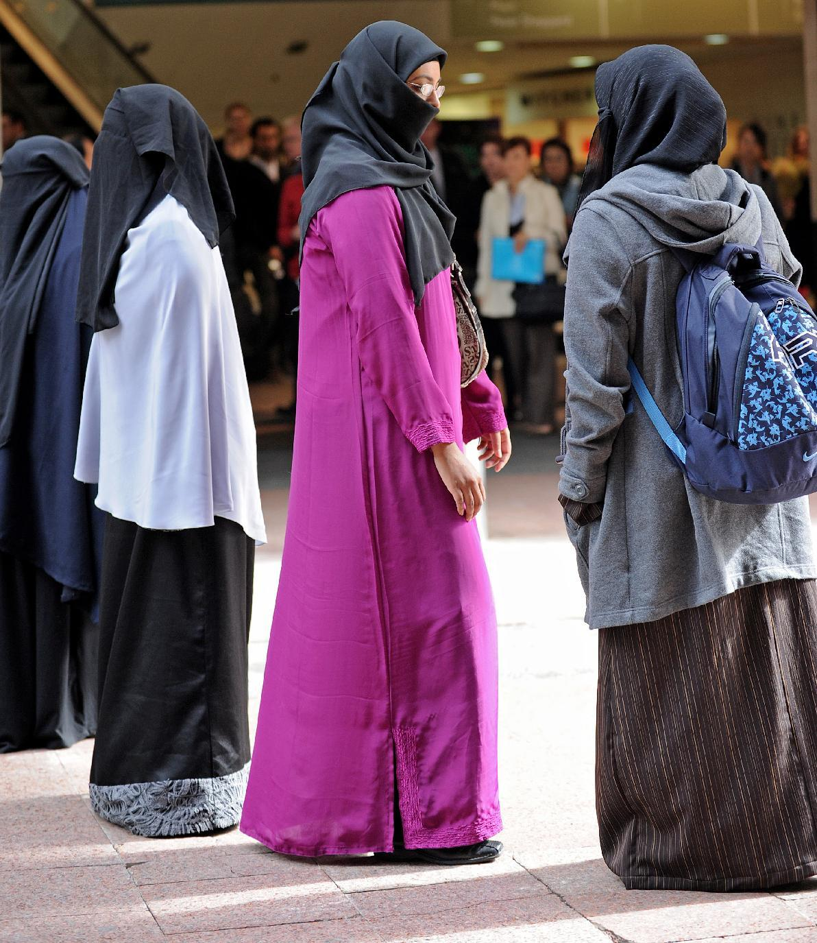 A file photo shows a rally in Sydney in 2010 highlighting burqa bans in Europe. Australia has scrapped a plan to segregate women wearing Islamic dress at Parliament House (AFP Photo/Greg Wood)