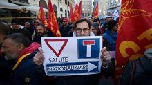 Manifestación en Roma de trabajadores metalúrgicos