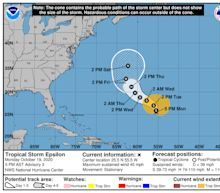Tropical Storm Epsilon becomes the 26th named storm of the 2020 hurricane season
