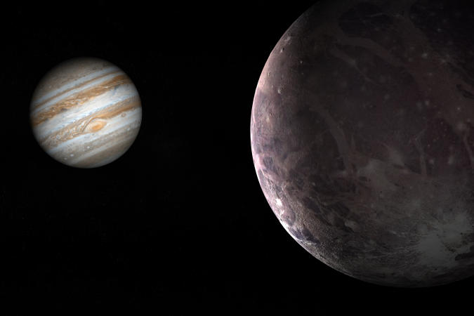 Jupiter planet and satellite Ganymede in rotation in the outer space. 3d render