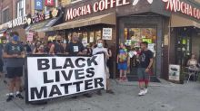 Black Lives Matter and 'Blue Lives Matter' supporters protest in Brooklyn