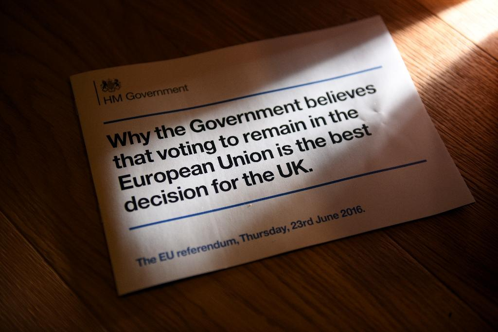 A leaflet stating the UK government's case for remaining in the European Union is seen in a household near Huddersfield, northern England on April 11, 2016 (AFP Photo/Oli Scarff)