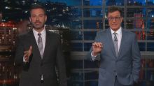 Colbert and Kimmel think there's only one explanation for Trump's 'treason'