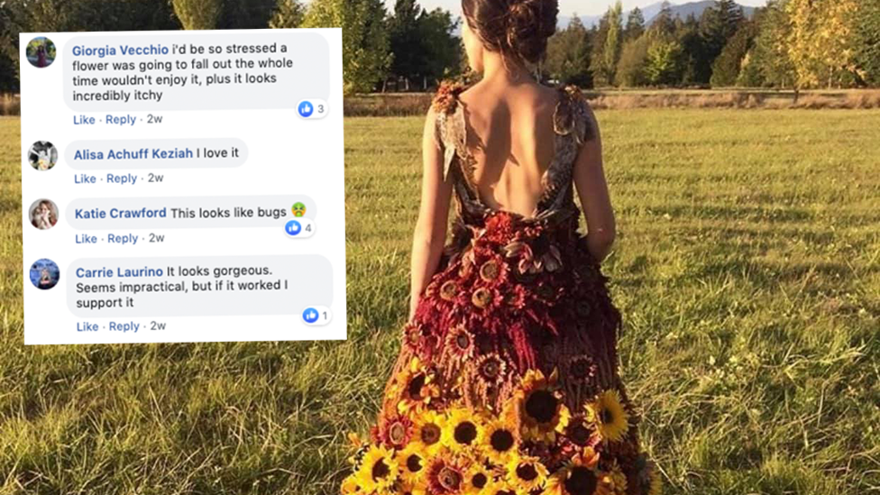 Bizarre sunflower wedding gown raises eyebrows