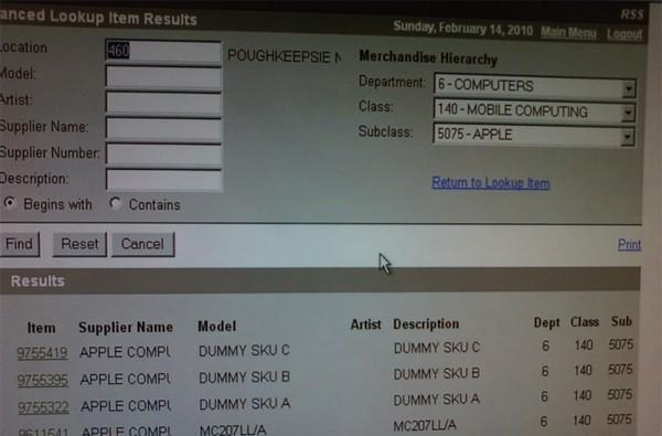Dummy Apple SKUs materialize in Best Buy's inventory system?