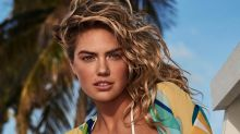 Kate Upton Sips Wine By the Pool In a Oversize T-Shirt & the Fuzziest Sandals
