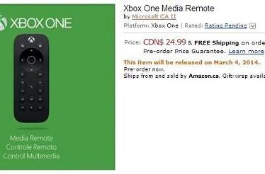 Xbox One Media Remote surfaces on Amazon Canada, hides under cushions