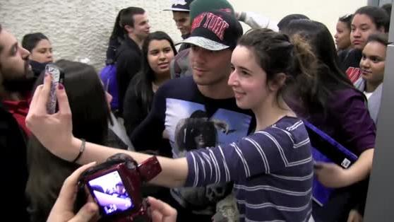 The Wanted Take Selfies with Fans.