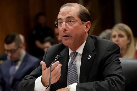 FILE PHOTO: HHS Secretary Alex Azar testifies before a Senate Appropriations Labor, Health and Human Services, Education and Related Agencies Subcommittee