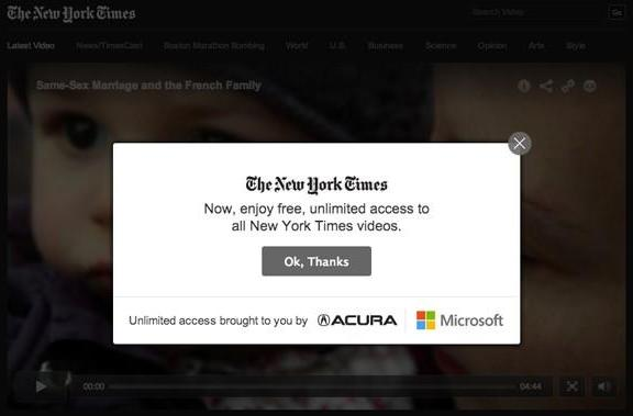 New York Times videos now exempt from paywall, free 'for the foreseeable future'