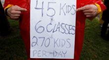 Striking Los Angeles teachers rally near City Hall as talks resume