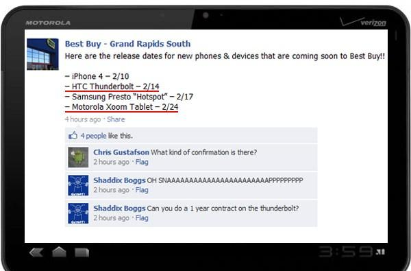 Motorola Xoom coming to Best Buy on February 24th, HTC Thunderbolt on the 14th