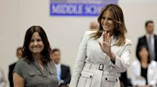 Melania Trump's spokeswoman slams coverage of first lady's wind-blown hair during visit to military base