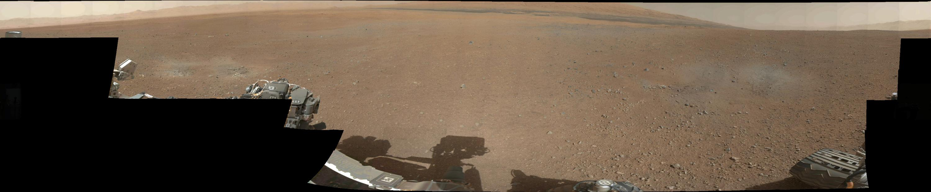 This image provided by NASA Thursday, Aug. 9, 2012, shows the first 360-degree color panorama taken on Mars by NASA's Curiosity rover. The panorama was stitched together using thumbnail images taken by the rover's mast camera. Curiosity landed in Gale Crater on Mars on August 5, 2012 to begin a two-year mission. (AP Photo/NASA)