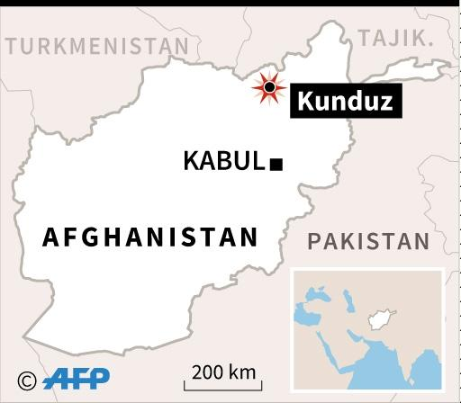 Map locating the Afghan city of Kunduz, where dozens of civilians were killed in a NATO air strike (AFP Photo/)