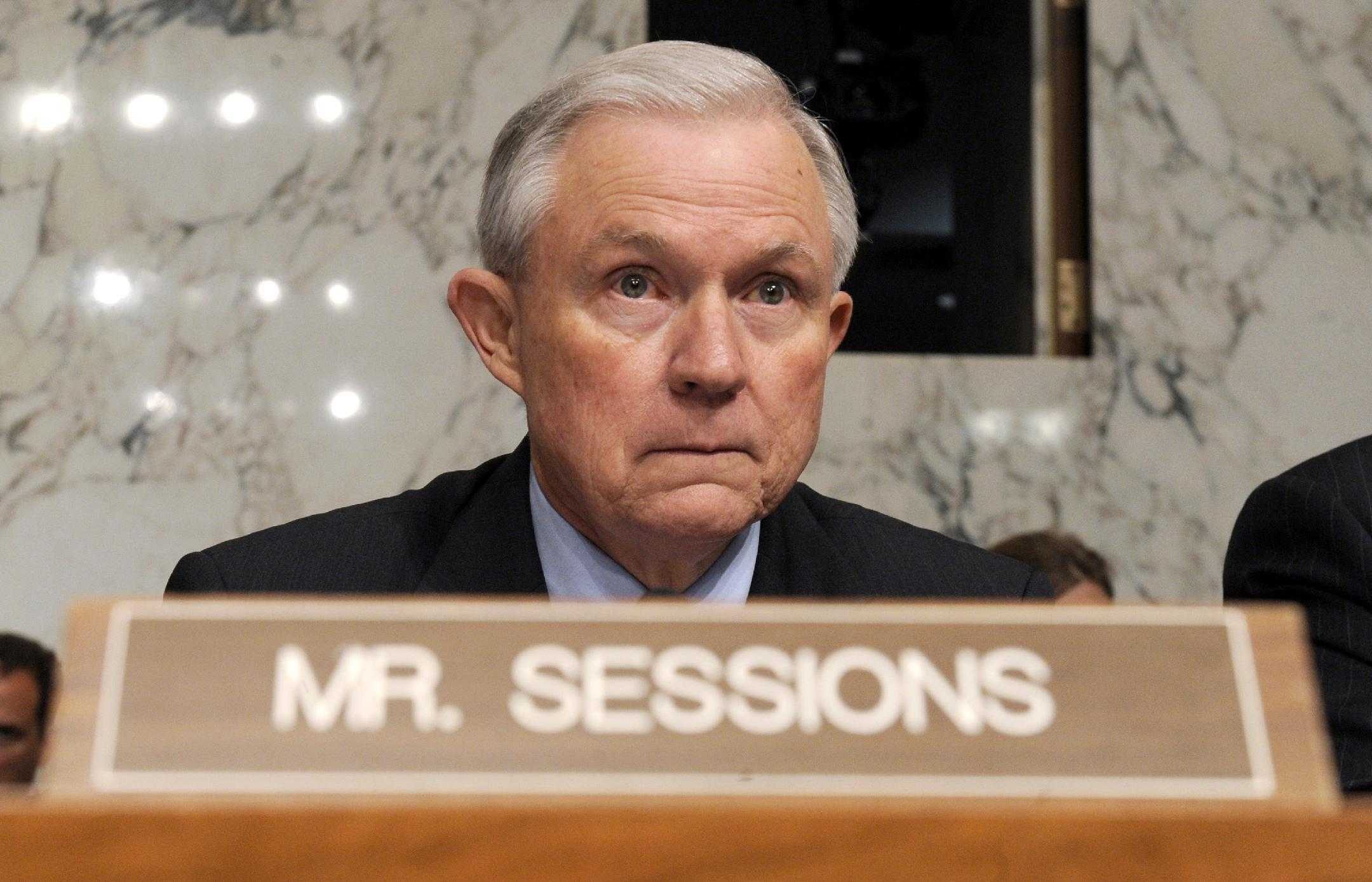 """FILE - In this June 30, 2010 file photo, Senate Judiciary Committee member, Sen. Jeff Sessions, R-Ala., is seen on Capitol Hill in Washington. Sessions told reporters Thursday, the president should take responsibility for the Secret Service, GSA and energy company Solyndra scandals and insist on a government culture in which taxpayer dollars are not wasted. He said, """"I don't sense that this president has shown that kind of managerial leadership."""" (AP Photo/Susan Walsh, File)"""